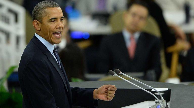 US President Barack Obama speaks during the 68th