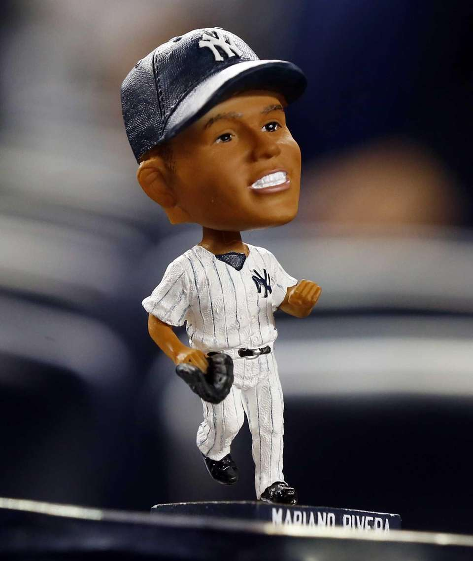A Mariano Rivera bobblehead is seen during a