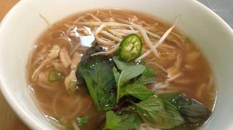 The chicken pho at the Rolling Spring Roll