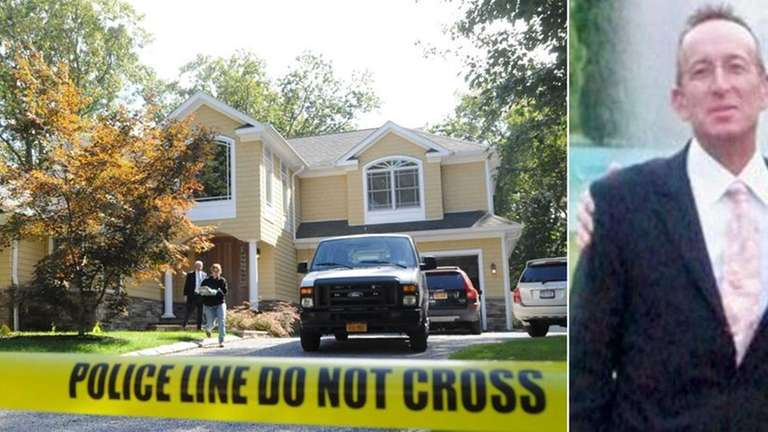 Investigators in Setauket probe the home, left, where