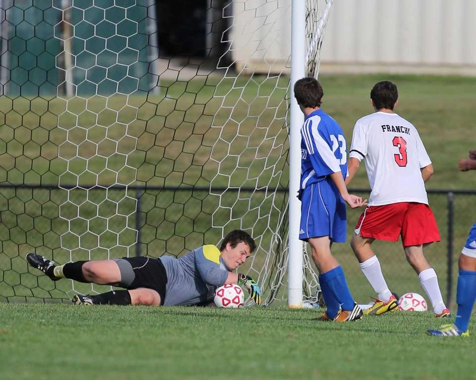 Mattituck Goalie Stephen Ostrowski makes a save in