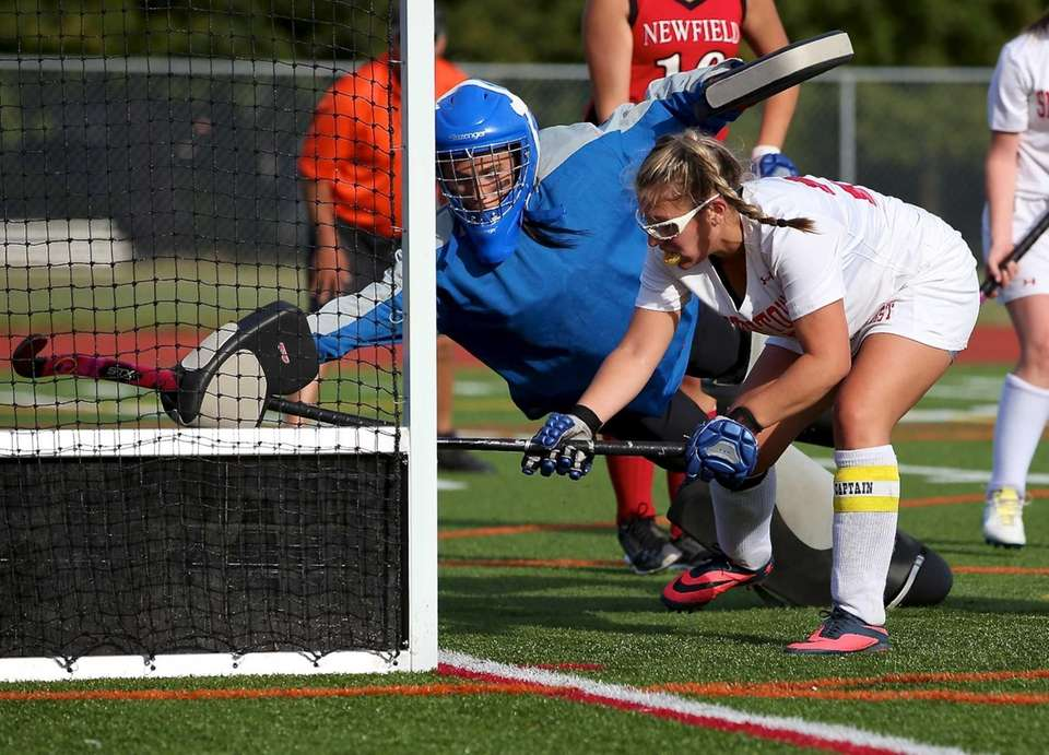 Newfield goalie Madison Skelton can't stop the close