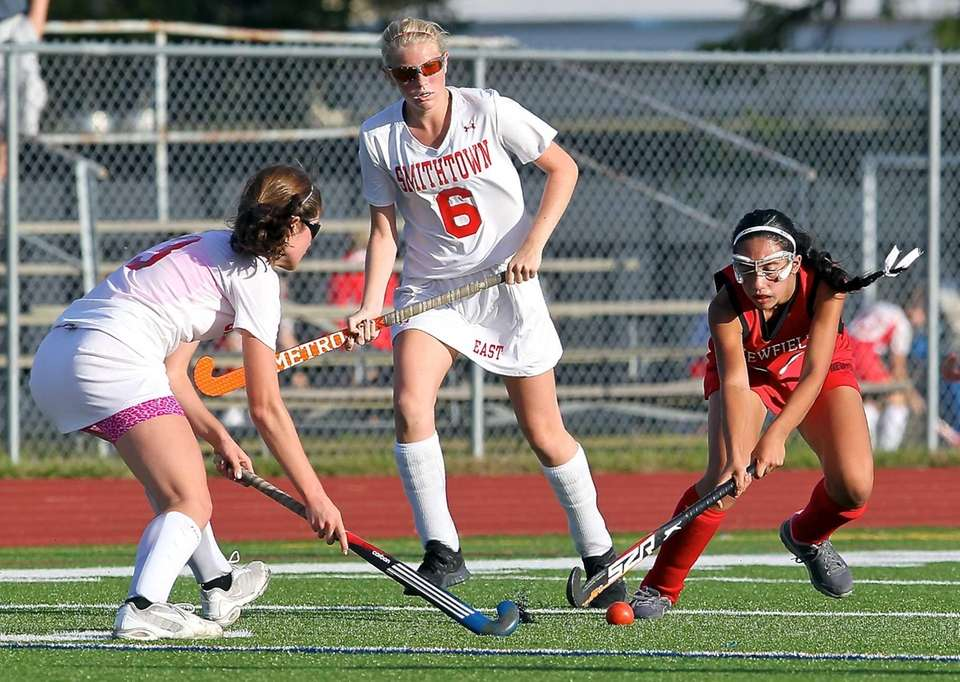 Smithtown East midfielder Sami Nizich, left, has the