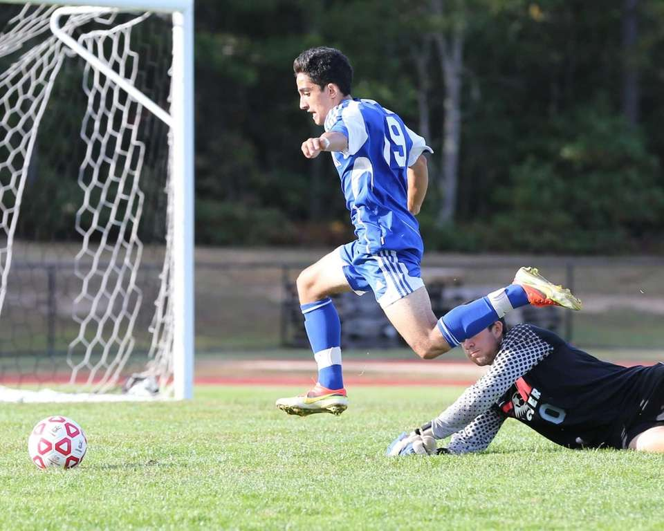 Mattituck's Kaan Ilgin flies over goalie Peter Connolly