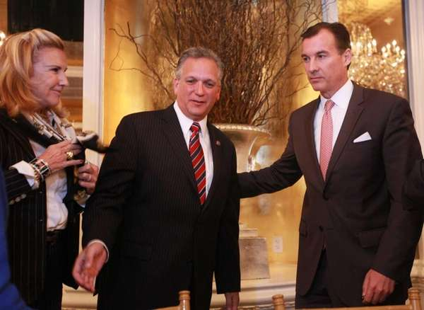 Nassau County Executive Edward Mangano briefly came together