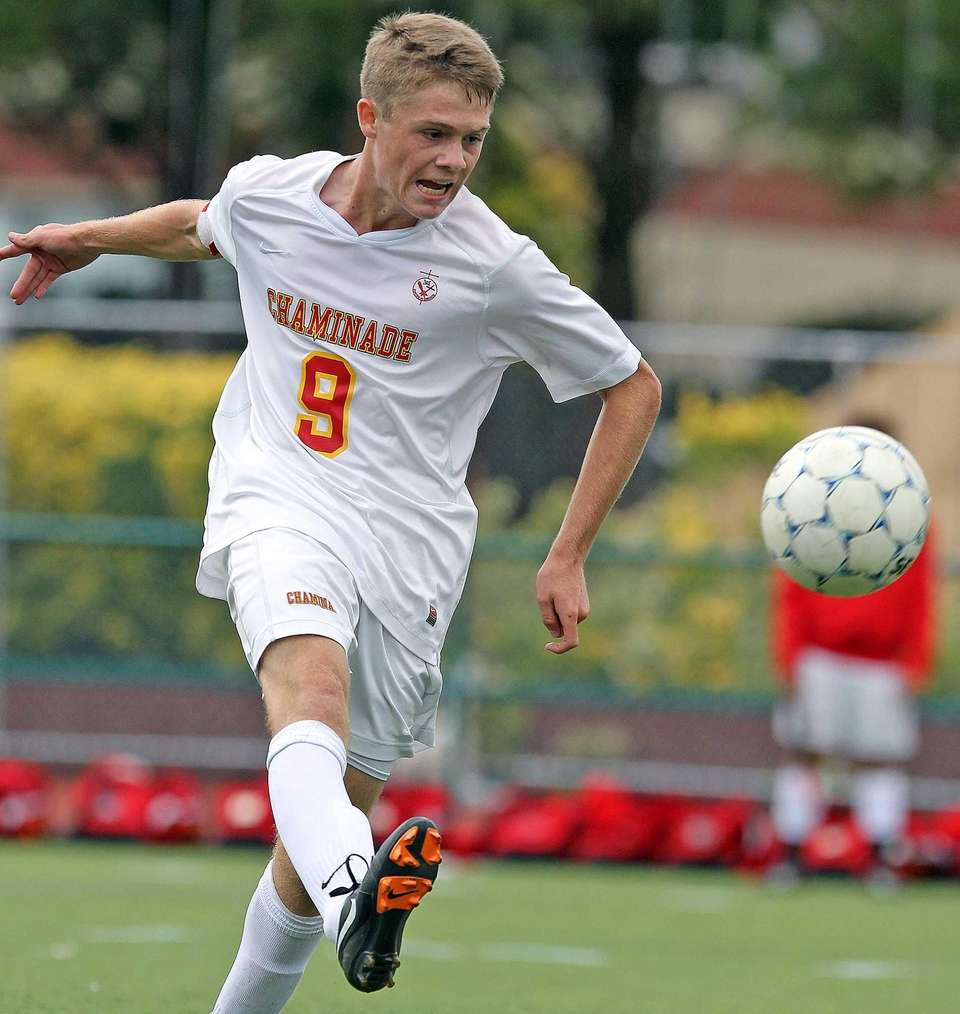 Chaminade's Ethan Ellsworth moves the ball ahead against