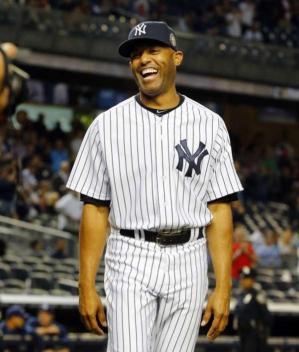 Mariano Rivera of the Yankees smiles after a