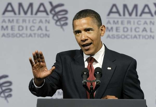 President Barack Obama speaks at the American Medical