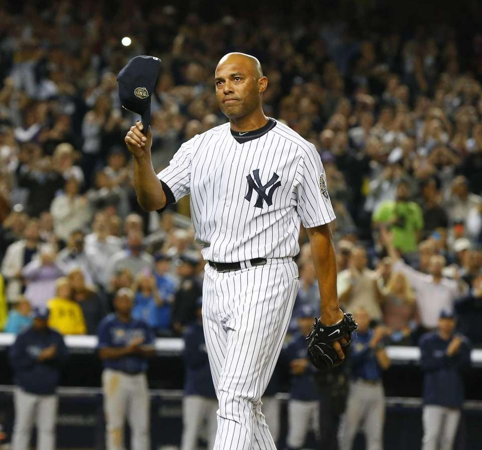 Mariano Rivera of the Yankees salutes the fans