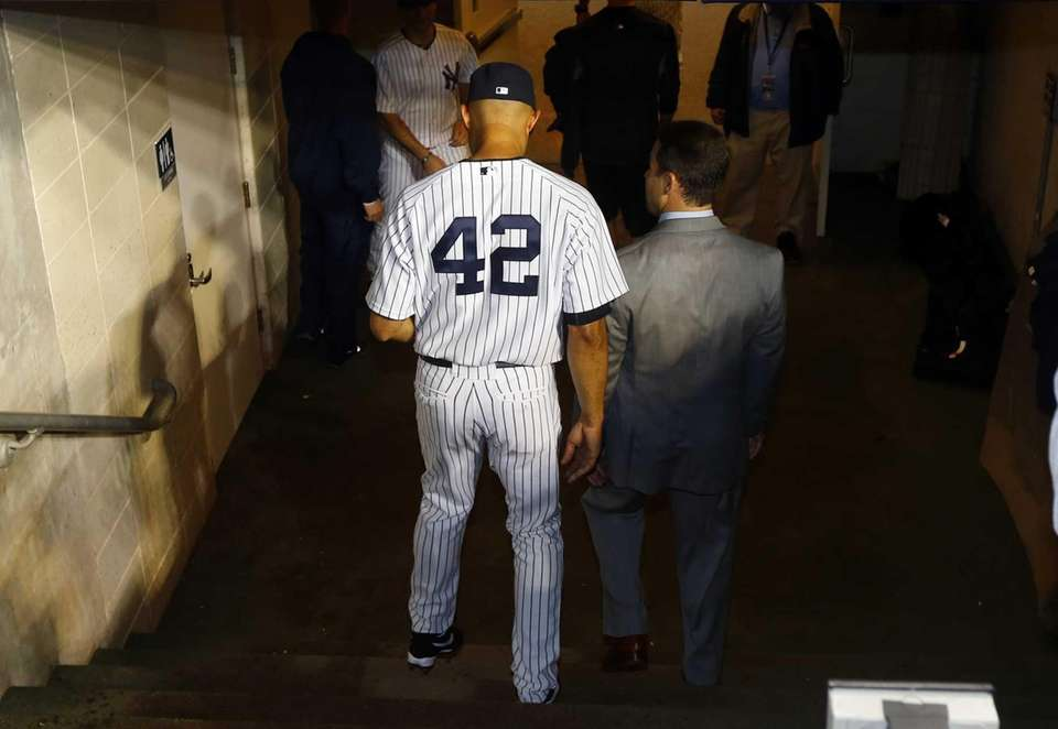 Mariano Rivera of the Yankees walks to the