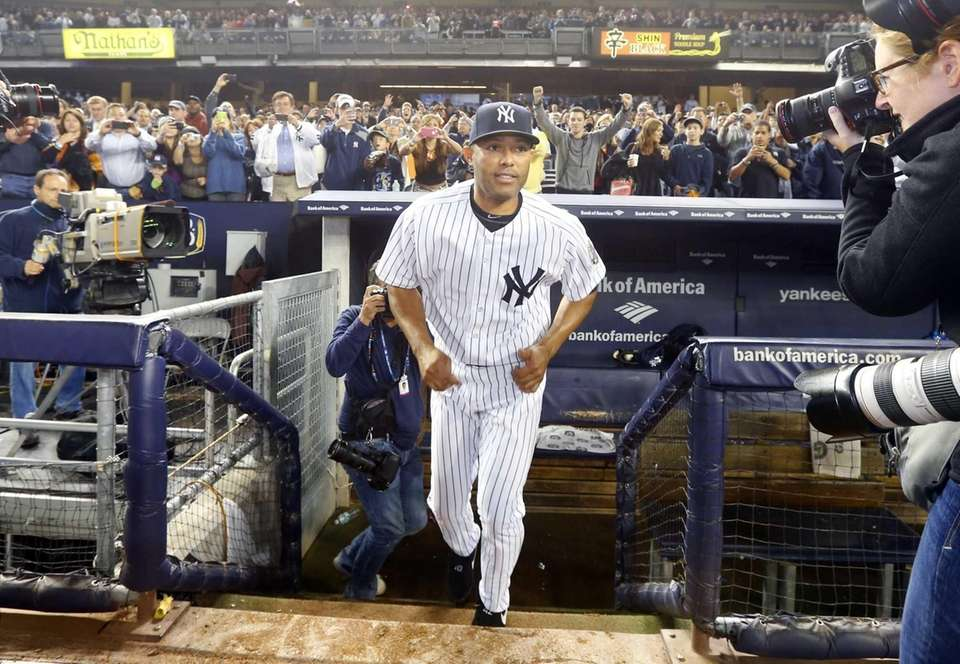 Mariano Rivera of the Yankees takes the field