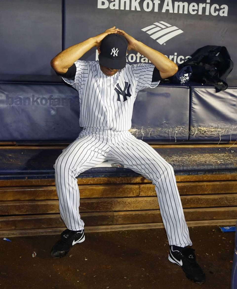 Mariano Rivera of the Yankees sits alone in