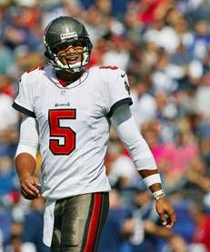Tampa Bay Buccaneers quarterback Josh Freeman reacts to