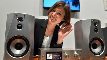 A model displays Japanese electronics giant Sony's harddisc