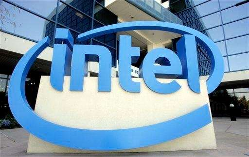 An Intel sign is shown in front of