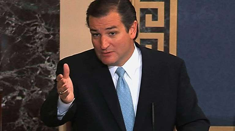This image from Senate video show Sen. Ted