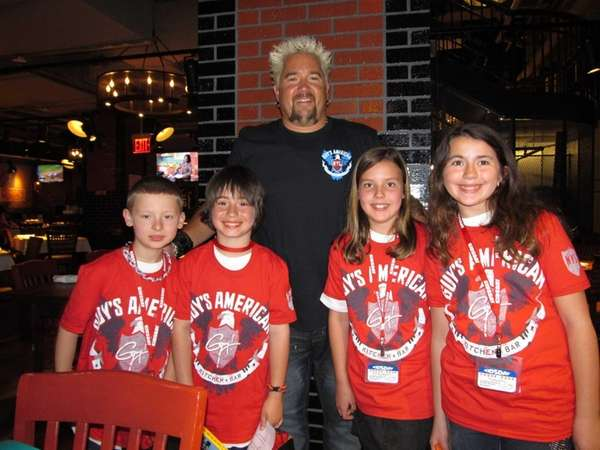 Chef Guy Fieri with Kidsday reporters (l) Connor