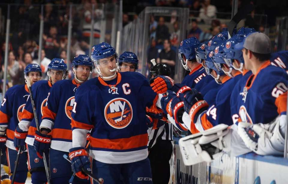 John Tavares of the Islanders celebrates his goal