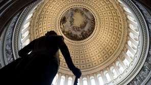 A statue of George Washington is seen in
