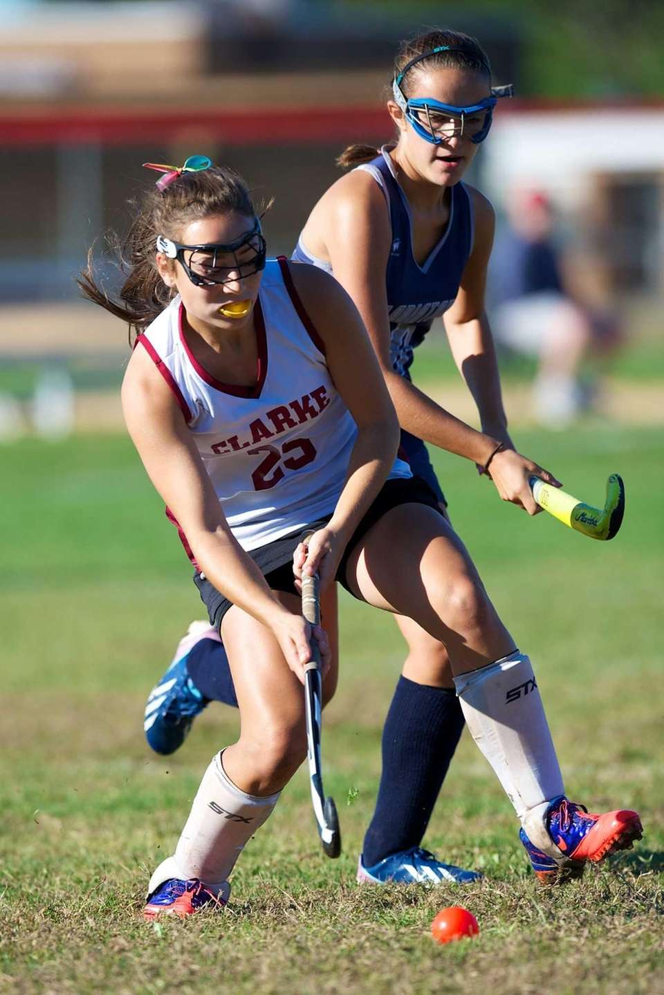 Clarke midfielder Natalie Morano (no. 25) handles the