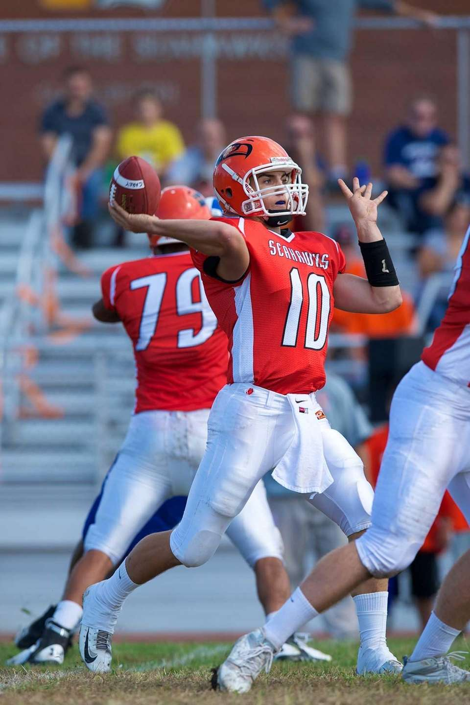 Carey quarterback Ray Catapano (10) looks to pass