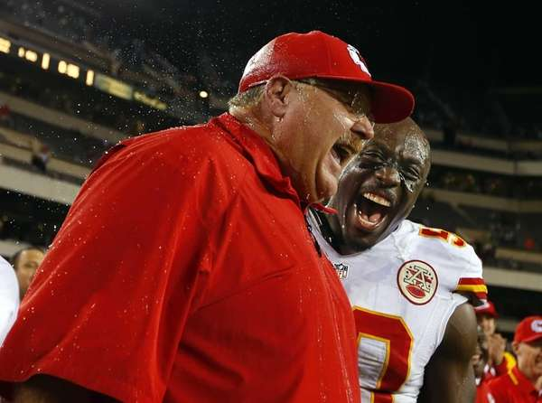 Kansas City Chiefs head coach Andy Reid reacts