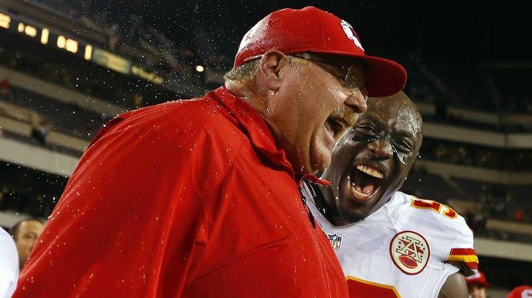 Kansas City Chiefs head coach Andy Reid reacts