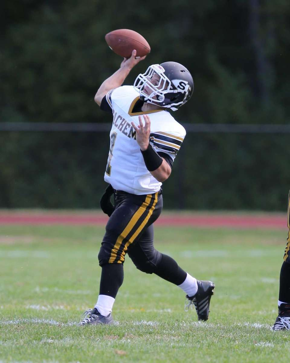 Sachem North quarterback Trent Crossan throws a pass