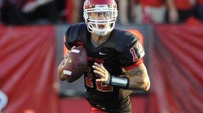 Stony Brook quarterback Lyle Negron looks to pass