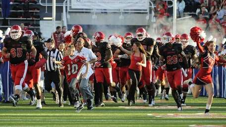 Stony Brook's football team takes the field against