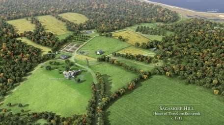 Rendering of Sagamore Hill, about 1918. The National