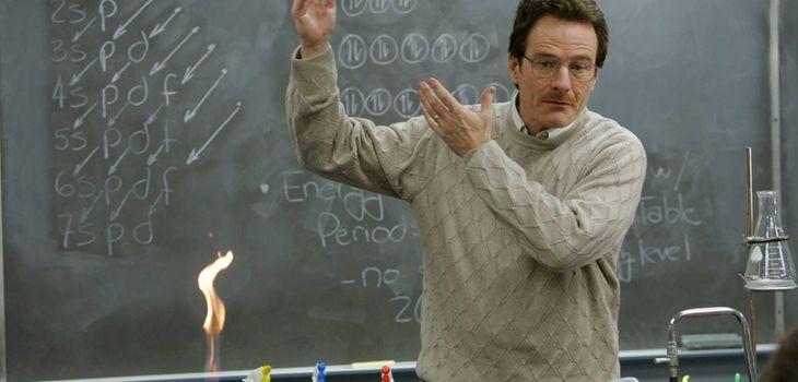 Walter White (Bryan Cranston) teaches chemistry class in