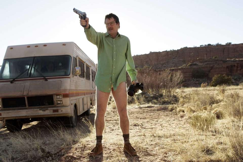 Walter White (Bryan Cranston) next to the Winnebago