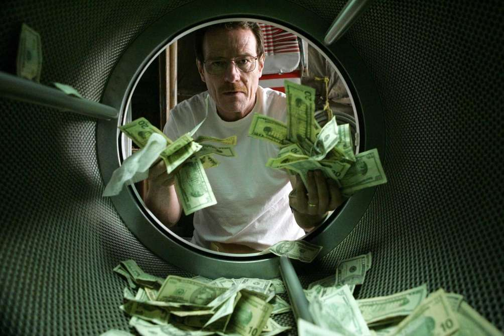 Walter White (Bryan Cranston) launders money in the