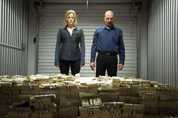 Skyler White (Anna Gunn) looking over a stash