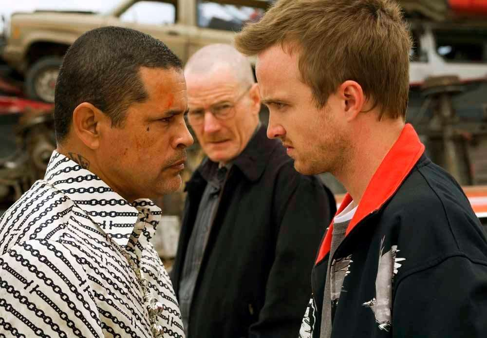 Drug dealer Tuco Salamanca (Raymond Cruz), left, stares