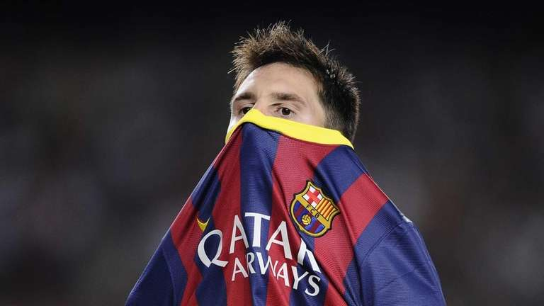 FC Barcelona's Lionel Messi reacts against Real Sociedad