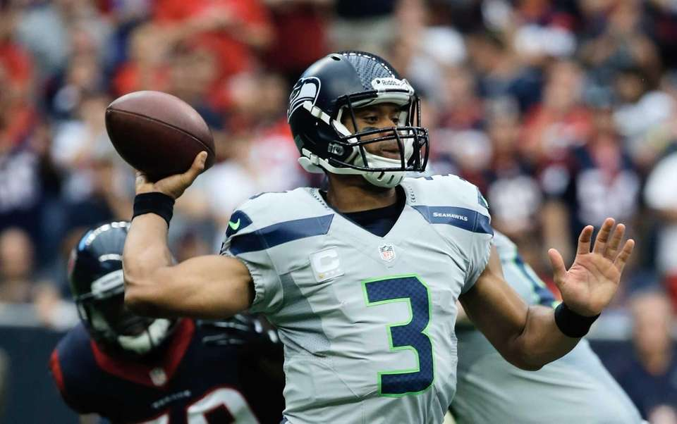 Russell Wilson #3 of the Seattle Seahawks looks