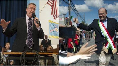NYC mayoral candidates Joe Lhota and Bill de
