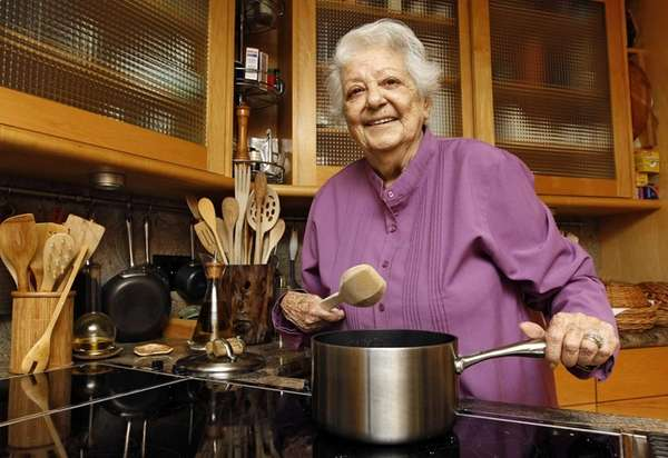 Chef Marcella Hazan in the kitchen of her