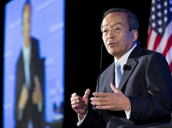 Takeshi Uchiyamada, chairman of Toyota Motor Corp., speaks