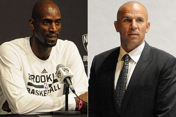 Kevin Garnett, left, and Jason Kidd are seen
