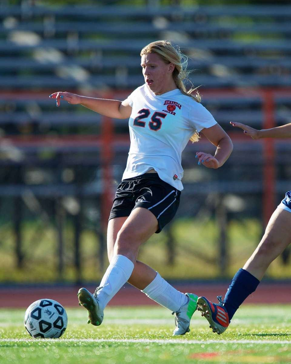Hicksville's Kelsey Silver (25) scores a goal in