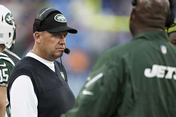 Rex Ryan look on from the sideline during