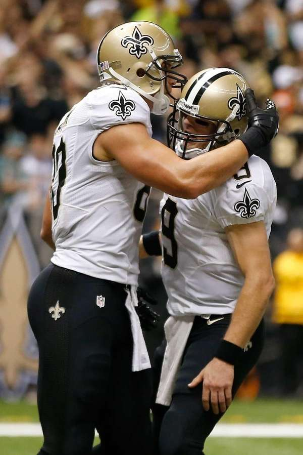 New Orleans Saints tight end Jimmy Graham celebrates