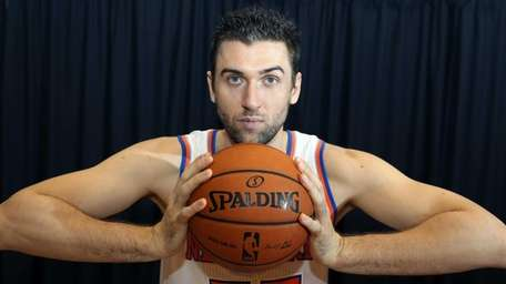 Andrea Bargnani poses for a photo at Knicks