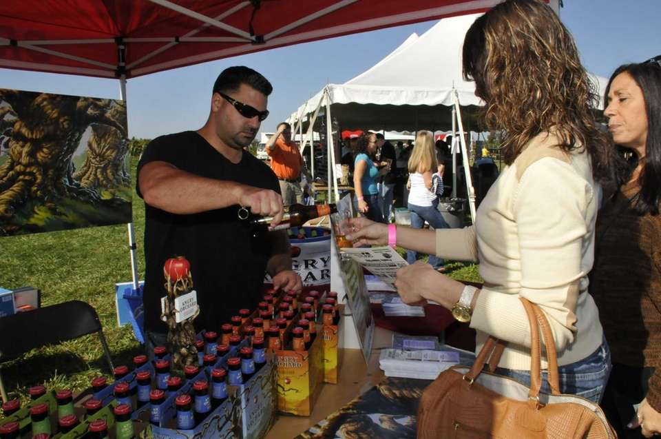 Jon Galeno pours Angry Orchard Hard Cider for