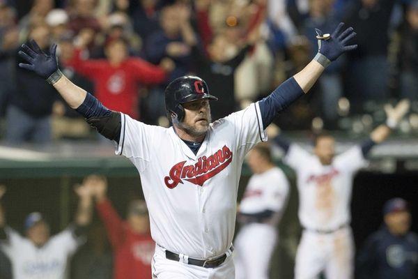 Jason Giambi of the Cleveland Indians celebrates after