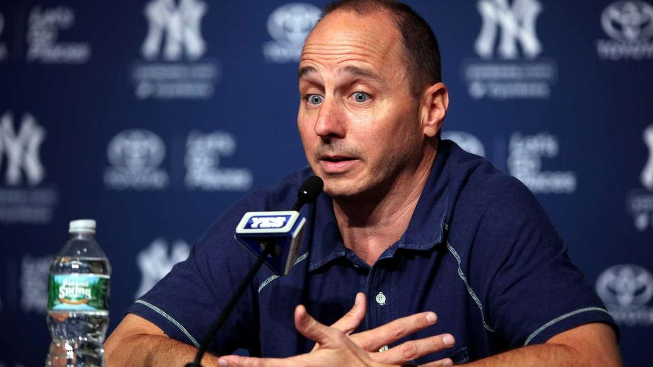 Yankees general Manager Brian Cashman holds a press
