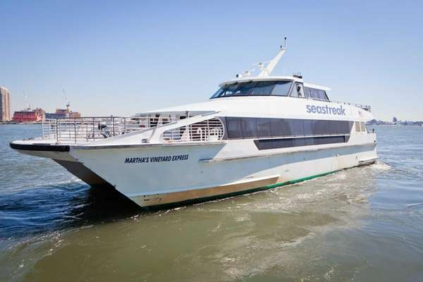 The Seastreak ferry water taxi vessel in the